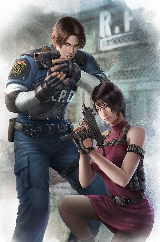 Resident Evil 2- Leon and Ada, John Law BC on ArtStation at https://www.artstation.com/artwork/8DY9n