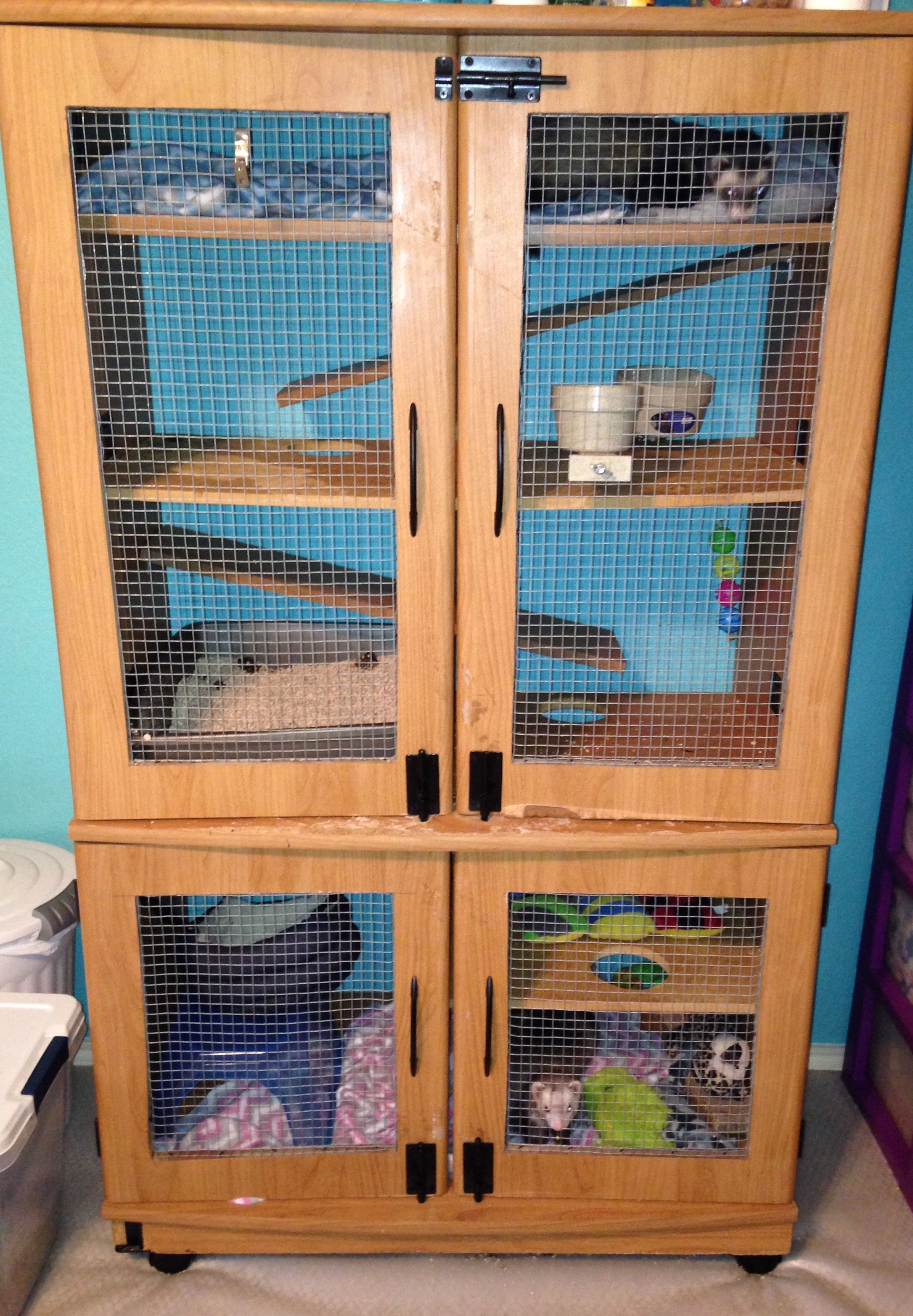 Homemade Cage From Thrifted Entertainment Center Ferret