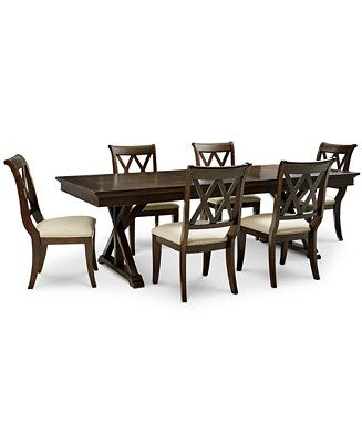 Furniture Baker Street Dining Furniture 7 Pc Set Dining Trestle Table 6 Side Chairs Reviews Furniture Macy S Dining Furniture Furniture Trestle Table