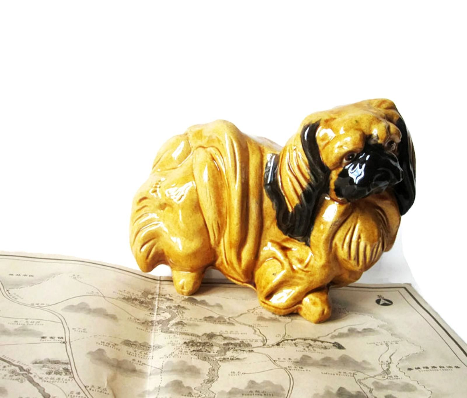 Pekingese Figurine Hand Painted Collectible Statue