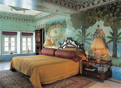 Taj Lake Palace Udaipur Wall Mural Fresco India Luxury Hotel Interior Decor