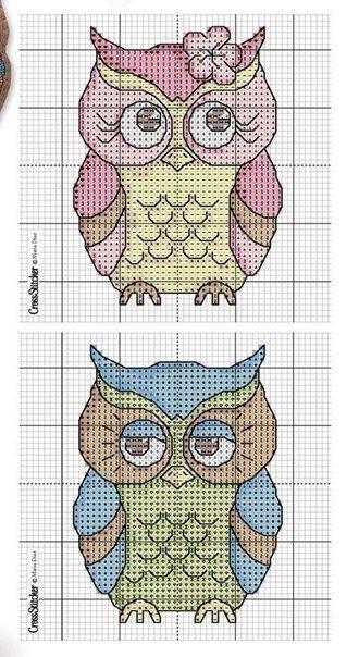 Free owl cross stitch patterns owls