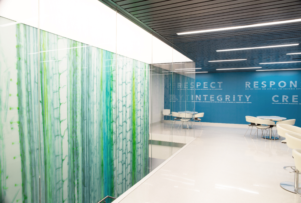Xylem mural & Brand values #officedesign  #xylemheadquarters  #brandexperience  #interiordesign #brandingdesign #informativeexperience #visualdesign #xylemnyc #corporateinteriordesign #pantry #lounge #graphics #wallgraphics #mural #fullheightglass