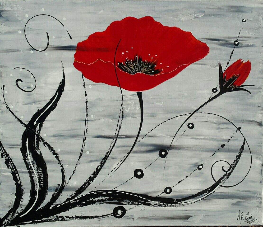 tableau moderne coquelicots en rouge et noir  peinture acrylique sur toile ch u00e2ssis plat 45x55