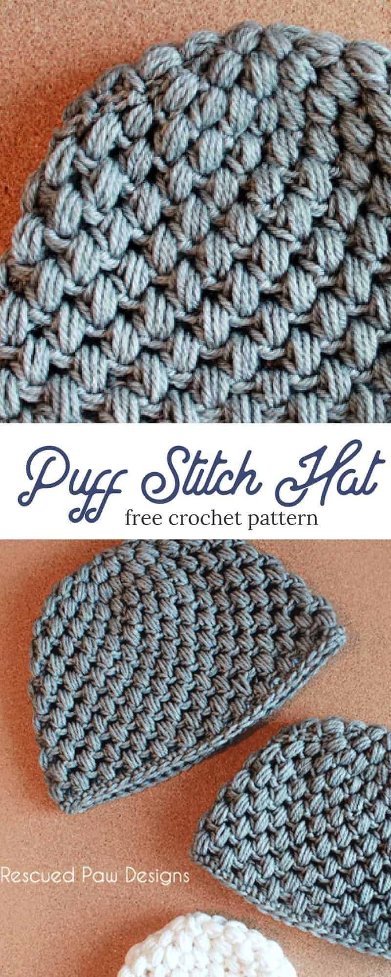 Make This Puff Stitch Crochet That Today With This Free Crochet Pattern From Rescued Paw Desig In 2020 Crochet Hat For Beginners Crochet Hats Crochet Hats Free Pattern