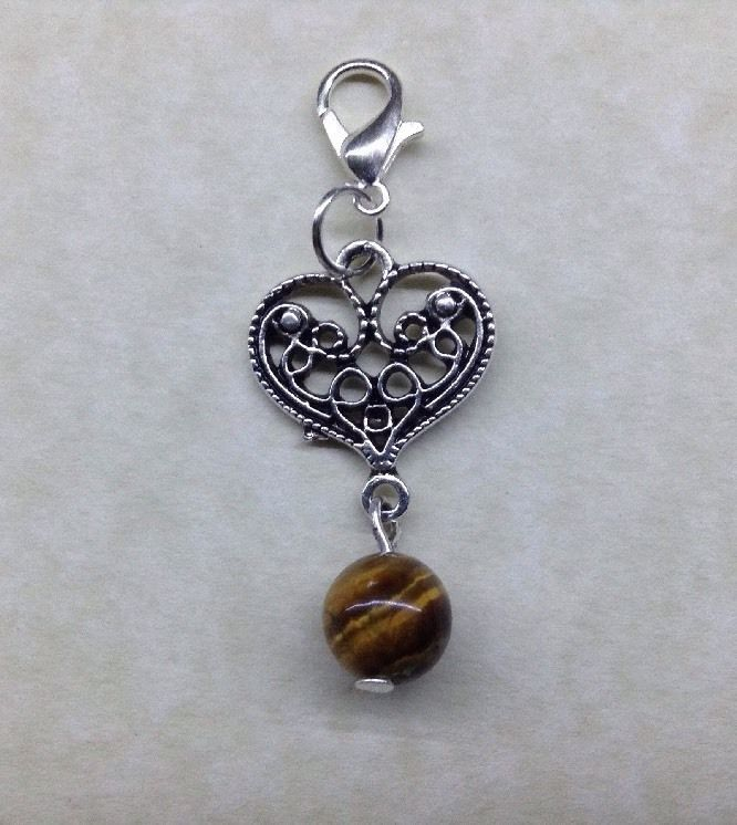 TIGER EYE 8mm Gemstone Tibetan Silver HEART KEYRING - Bag Handbag Charm - Chakra | eBay