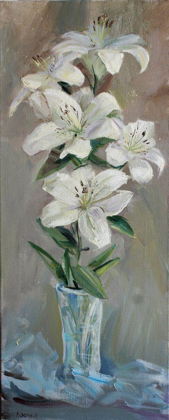White Lily Flower Original Oil Painting Still Life Wall Art Gift For