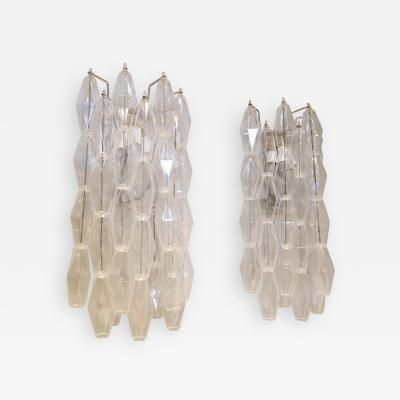 Pair of Long 1970s Venini Style Polyhedron Murano Glass Sconces by   Venini