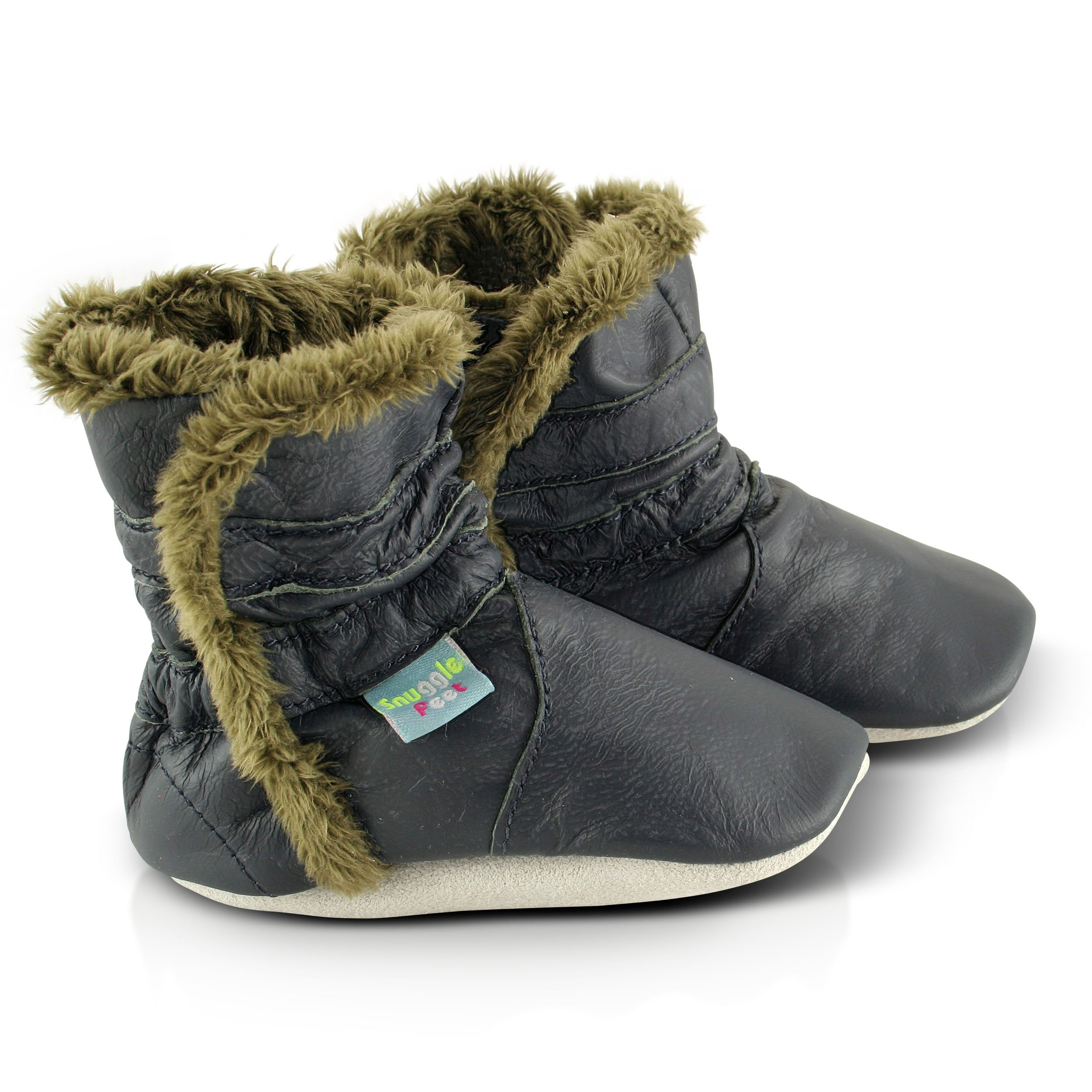 Baby Boy OR Girl Pre-walker Snuggle bootie with soft Fleece lining NAVY OR TAN
