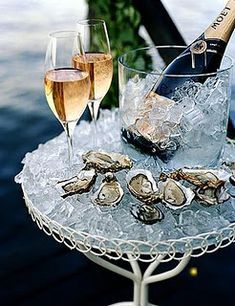 oysters & champagne. the flavors are so perfect together