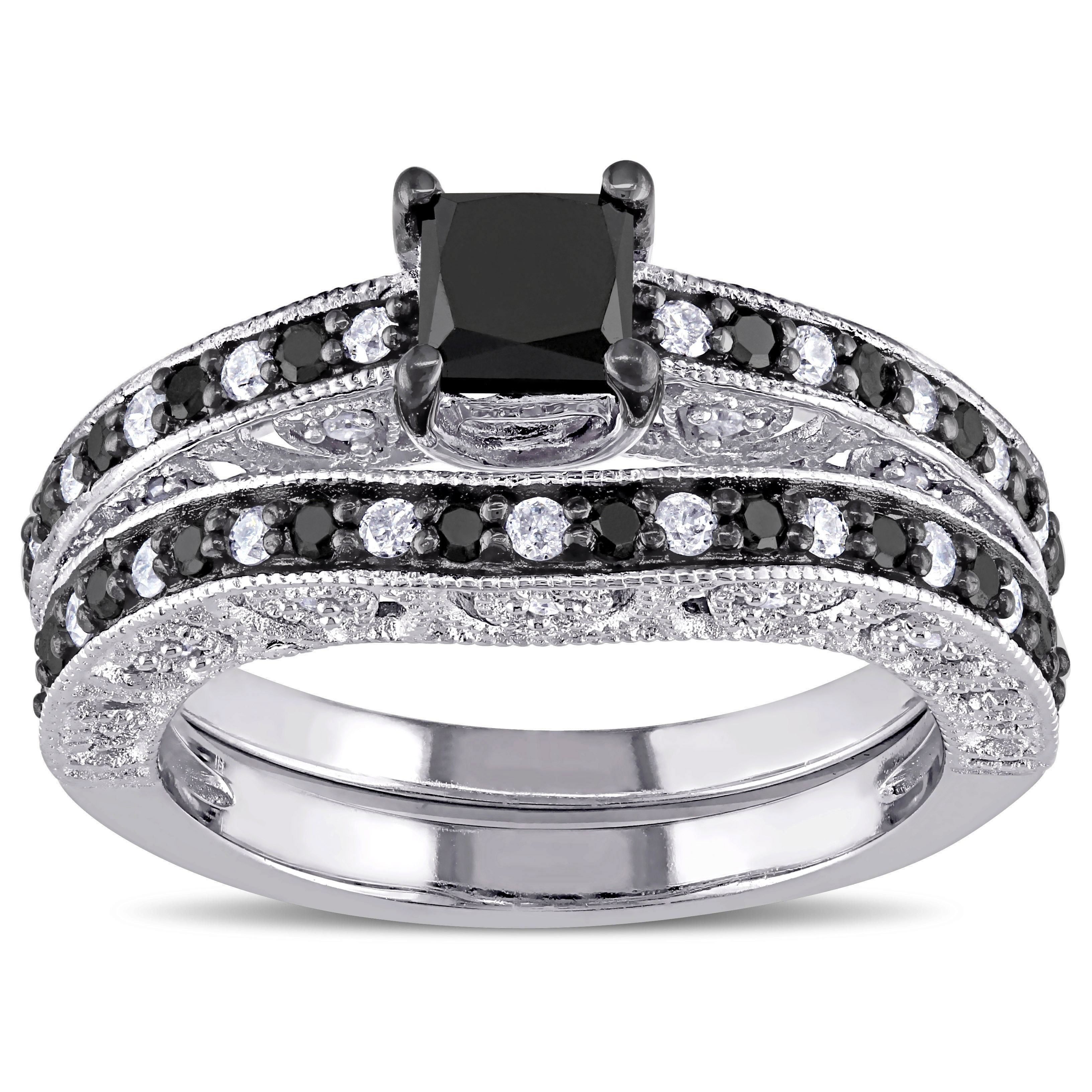 Miadora Sterling Silver 1 1/4ct TDW Black and White