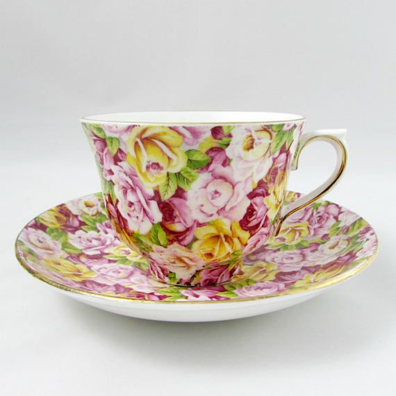 Vintage Rose Chintz Tea Cup And Saucer By Colclough English Bone China