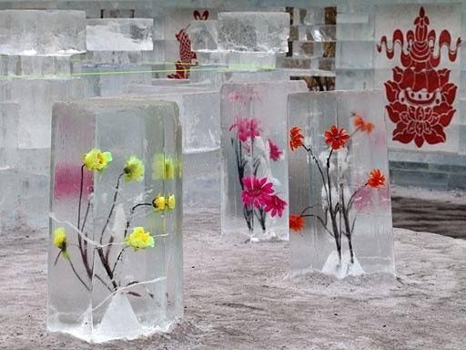Winter Decor Idea: freezing flowers. Found on: https://www.facebook.com/hudsonflowershopwi