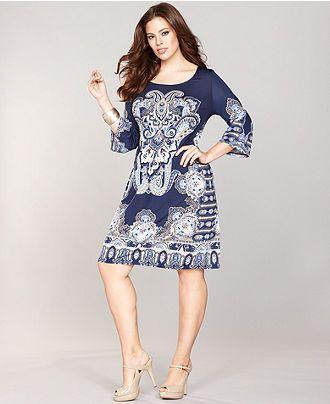 Inc International Concepts Plus Size Dress Bell Sleeve Exotic Print