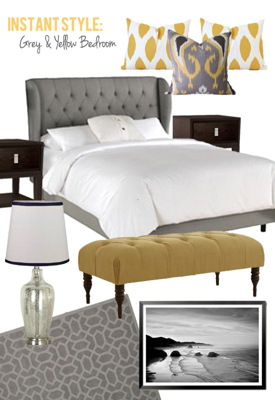 Exceptional Love This Grey And Yellow Bedroom.especially The Yellow Bench By Erin  McComis
