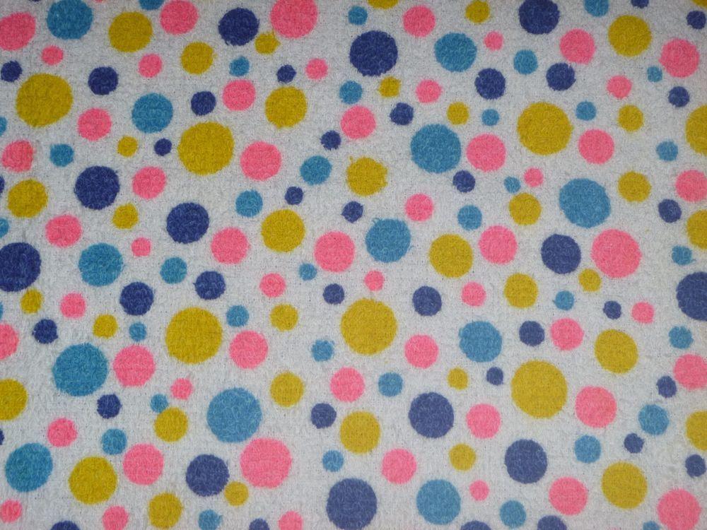 Vtg Polka Dot Cotton Terry Cloth Fabric Blue Gold Pink 45 W