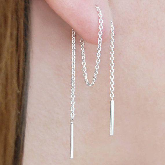 5 inch Light Rose Pink Crystal Teardrop Sterling Silver Chain Threader Earrings