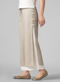 Linen Double-Layer Cropped Pants Beige/Off White