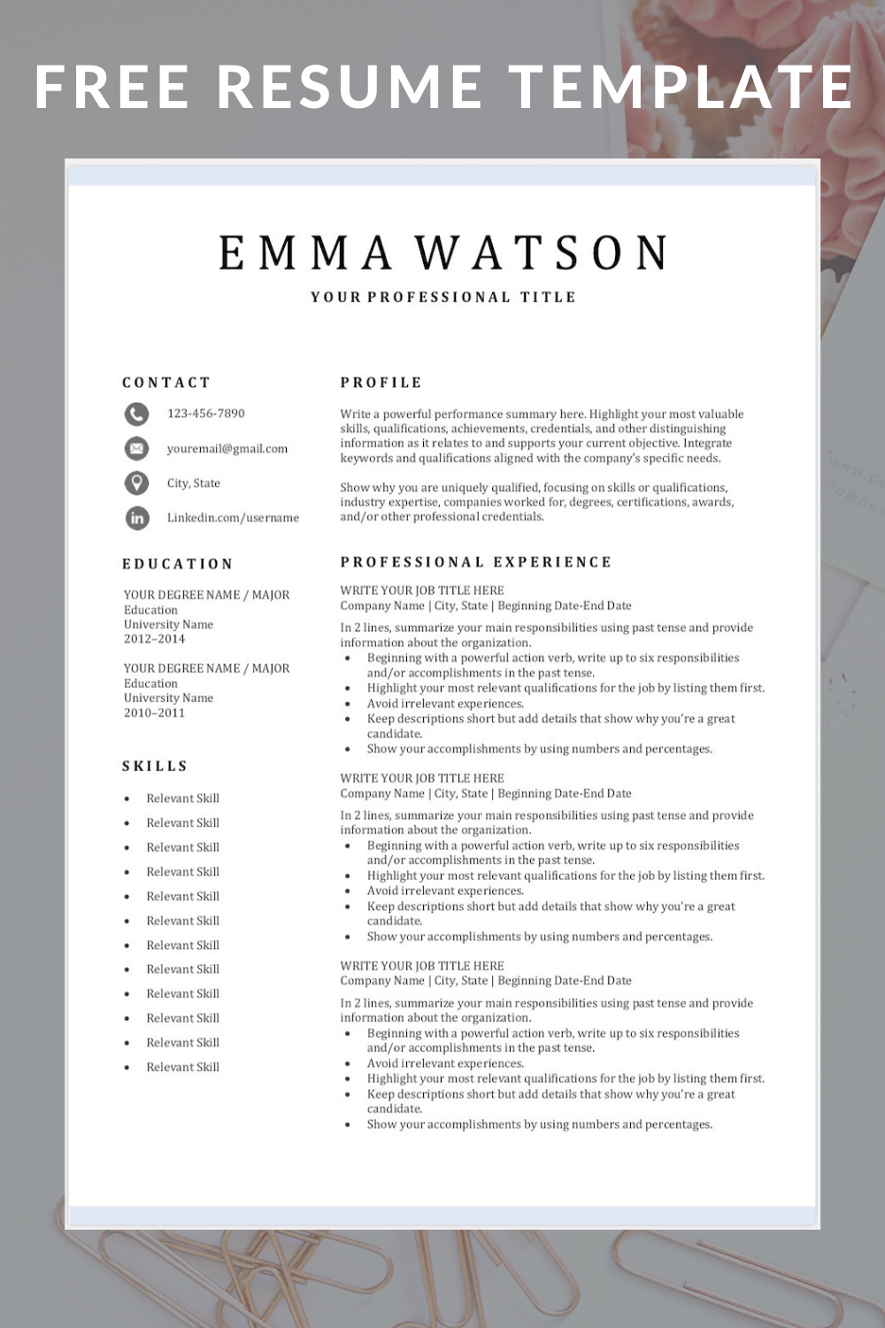 Free Resume Template In 2020 Resume Template Free Nursing Resume Template Downloadable Resume Template