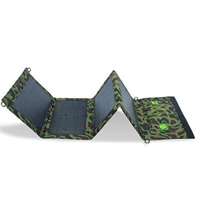 TecBillion 15W Portable and Foldable 2-Port USB Solar Charger PowerPort Solar for cellphone, iPad, buletooth speaker and More, with 4 Suction Cup, Camouflage