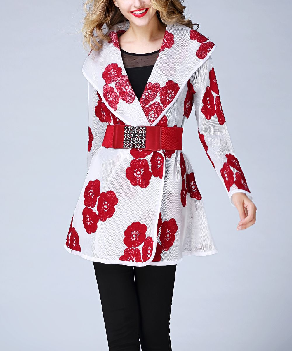 Red & White Floral Sheer Belted Jacket - Plus Too