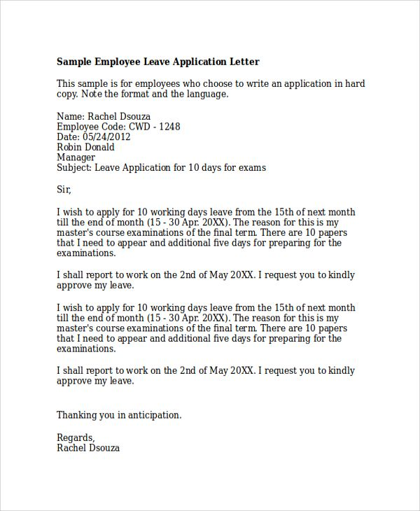 sample application letter examples pdf word how write leave for - sample leave application
