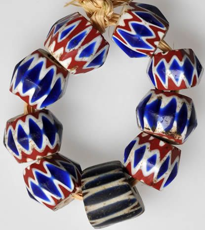 4-layer Venetian facetted chevrons #5814  Average size: 12mm, center bead is a 7-layer: 14 x 11mm  Date: Mid to late 1800s