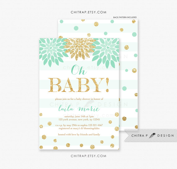 Mint Gold Baby Shower Invitations With Luxe White Envelopes