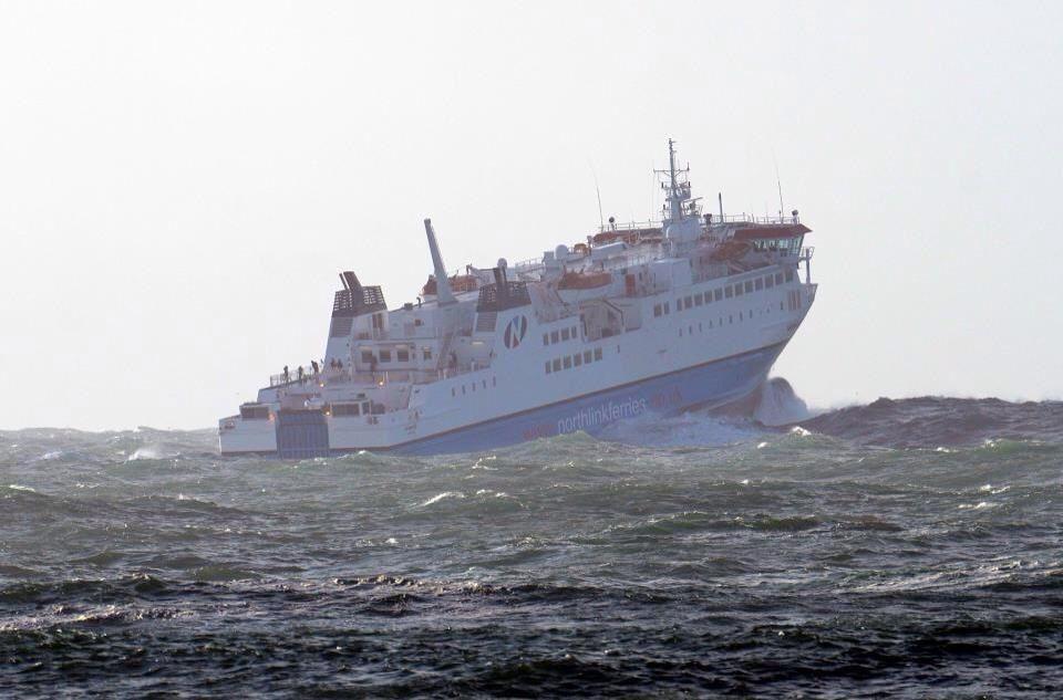 Shetland ferry in storm 5th Feb 2013 from Warebeth, Orkney ...