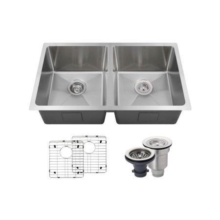 Mr Direct 3120d 14 Gauge Undermount Stainless Steel 31 In Double Bowl Kitchen Sink Ensemble Double Bowl Kitchen Sink Mr Direct Sink