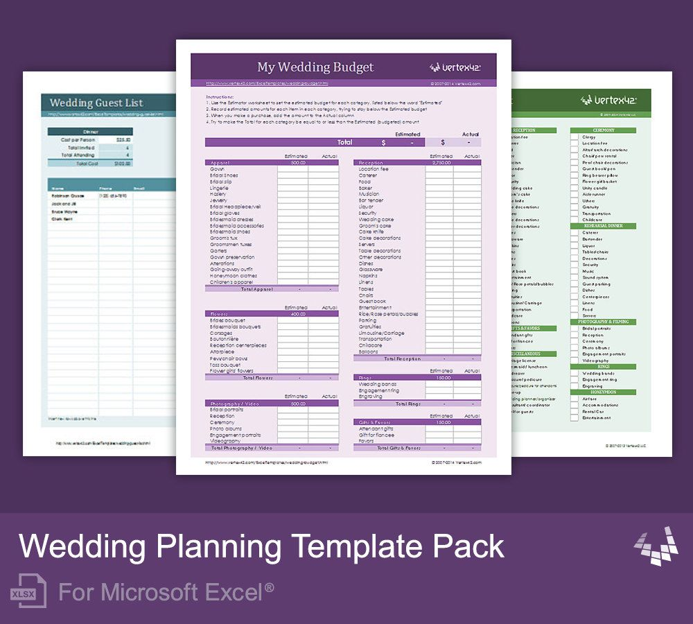 Wedding Planning Template Pack for Excel Wedding