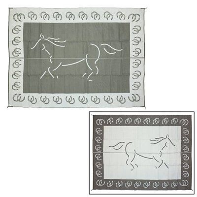 Patio Mats 084 Silver Mat Outdoor Rug, Horse Black - Floors and Surfaces