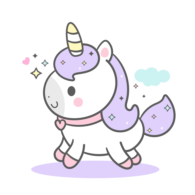Cute Unicorn Vector With Cloud Pony Cartoon Pastel Color Kawaii