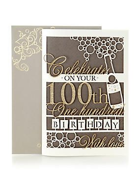 Laser Cut Champagne Age 100th Birthday Card