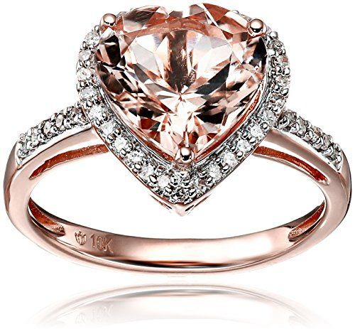 10k Rose Gold Morganite and Diamond Heart Halo Engagement Ring 1
