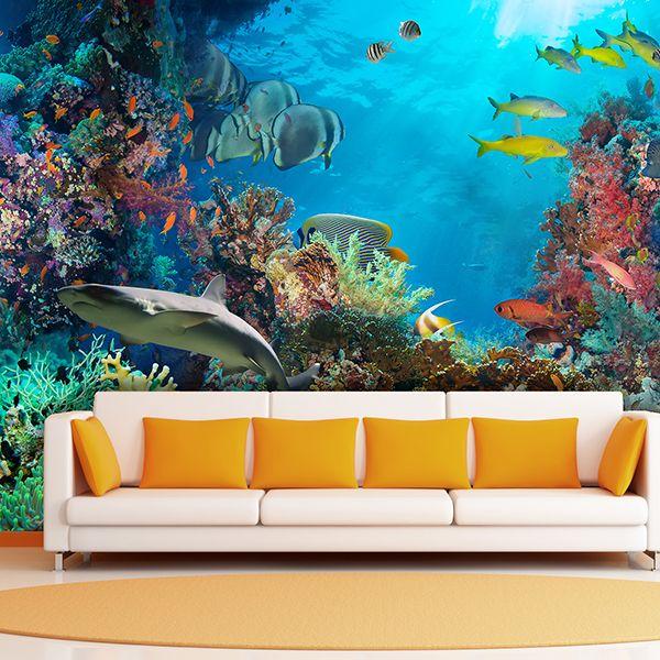 Fotomurales fondo marino con corales peces y tiburon for Mural para habitacion