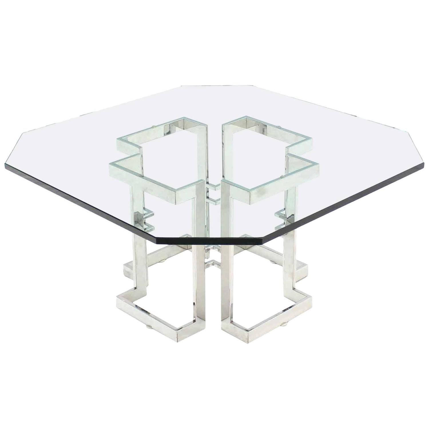 Artimeta Attributed Square Metal And Glass Coffee Table At: Square Chrome Base Glass Top Coffee Table