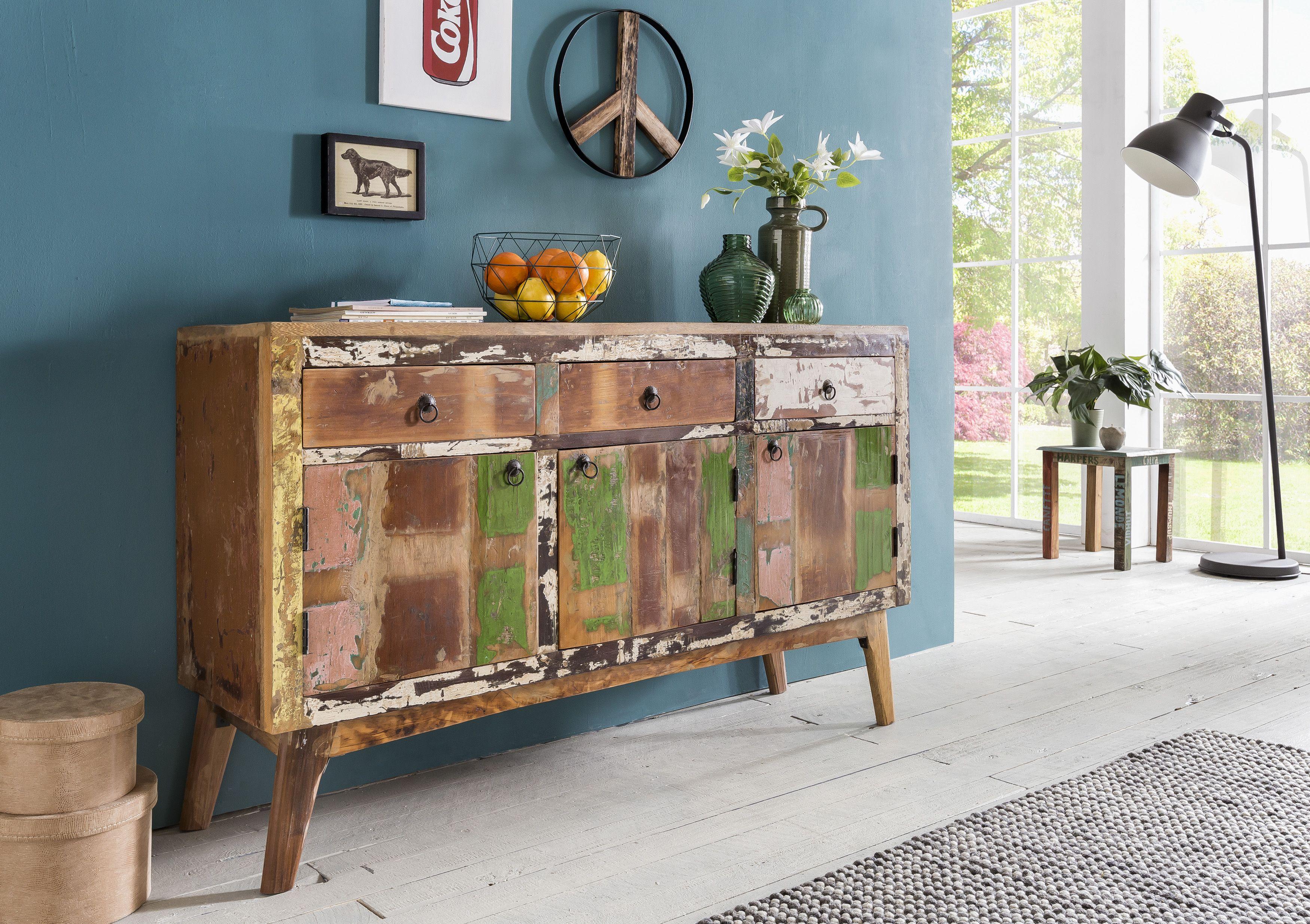 Wohnling Sideboard Vata Wl5 417 Aus Massivholz Kommode Holz Bunt Rustikal Schlafzimmer Wohnzimmer Schabby Schick Kommode Shabby Chic Shabby Chic Mobel