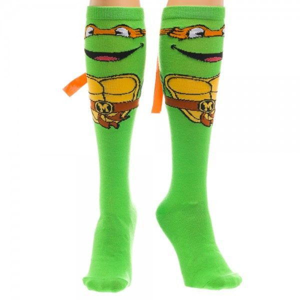 Teenage Mutant Ninja Turtles Mike Knee High Socks with Mask | Socks ...