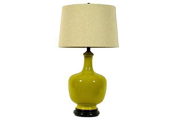 One Kings Lane - Midcentury Yellow Ceramic Lamp