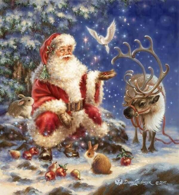 nostalgische weihnachten rentier weihnachtsmann