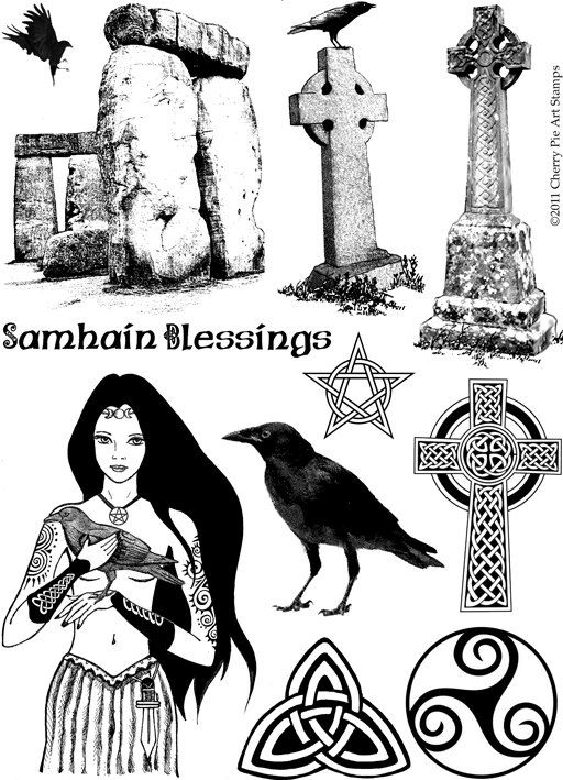 Celtic Magic - The Morrigan, ravens, Stonehenge - set of UNmounted rubber stamps by Cherry Pie. $24.00, via Etsy.