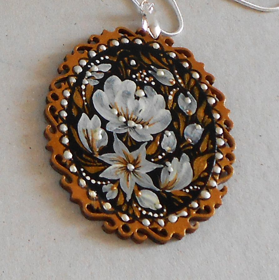 Russian Hand Painted Pendant Flower Floral Jewelry Necklace Etsy Painted Wood Jewelry Hand Painted Pendant Hand Painted Jewelry