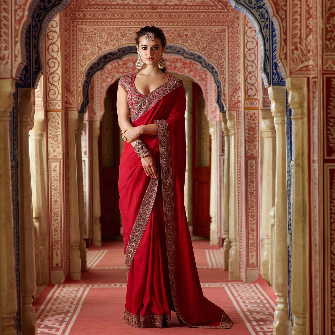 Image result for red saree sabyasachi