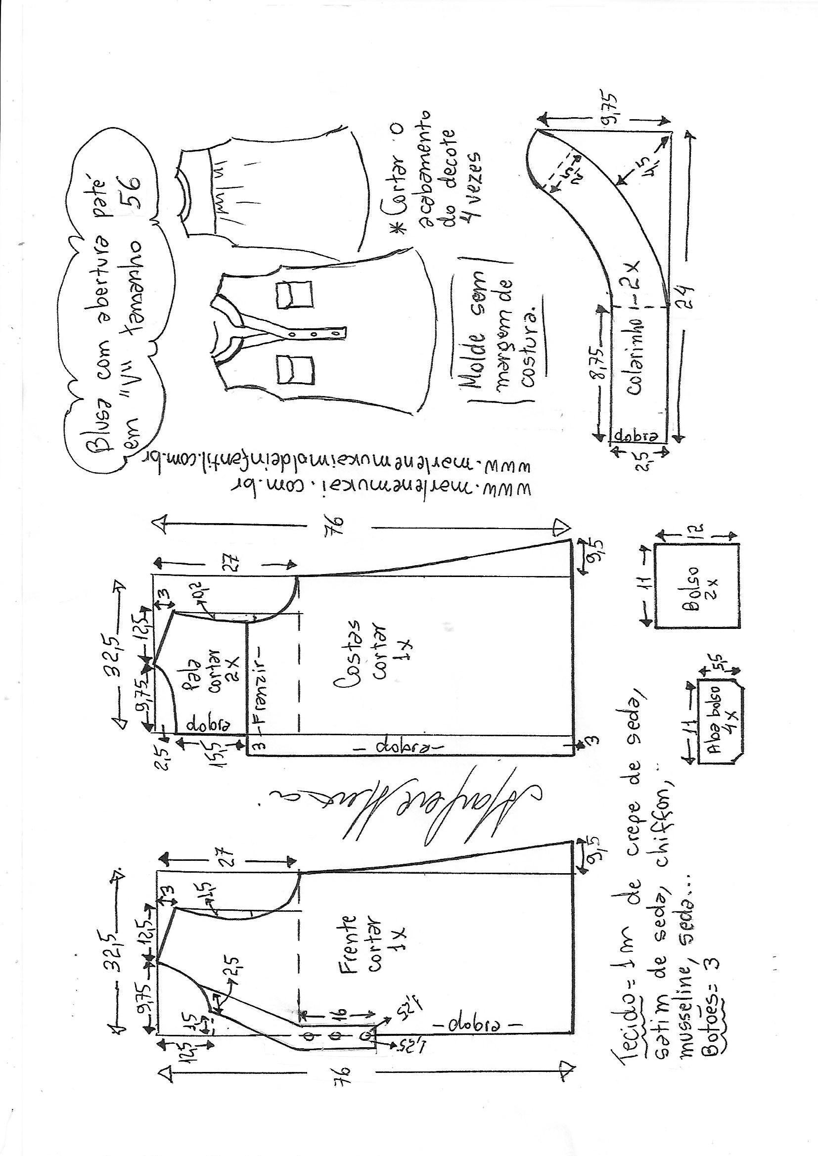 Blusa com abertura paté em V | moldes blusas | Pinterest | Costura ...