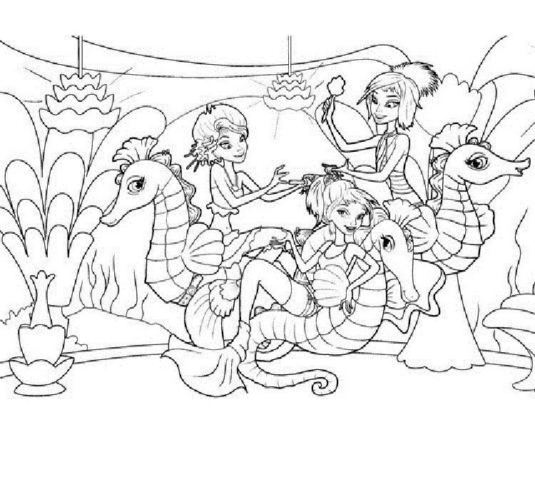 Mermaid And Seahorse Coloring Pages. Download or print the