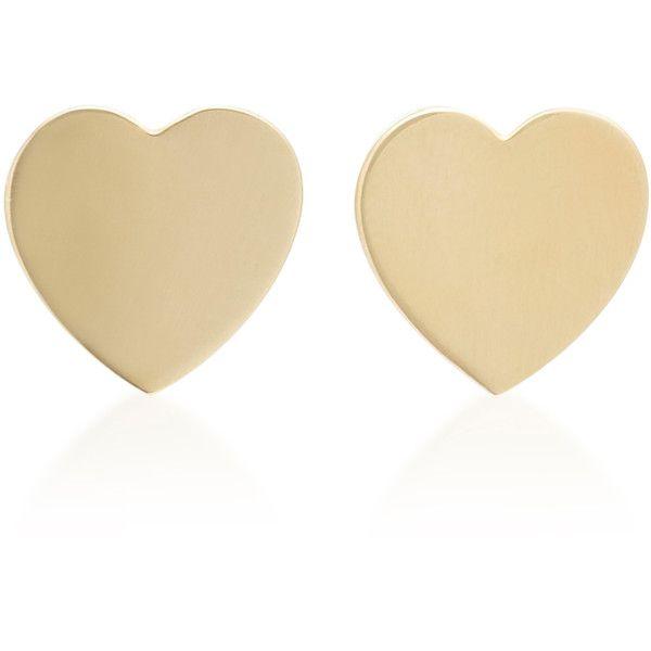 18K Gold Heart Stud Earrings Established N2LSc5Vsut