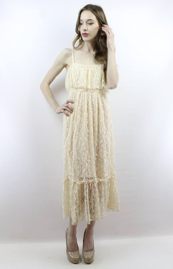 46d2d7f1033 Lace Midi Dress Cream Lace Dress Hippie Wedding Dress Hippy Wedding Dress  Beach Wedding Vintage Wedd