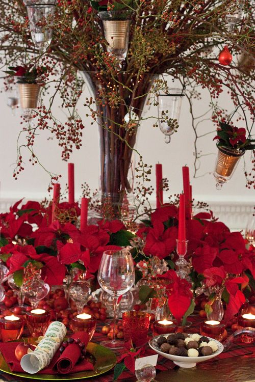 Poinsettia Christmas Table Design By Florist Paula Pryke Vintage Christmas Holiday Tablescapes Xmas Decorations Christmas Table Settings