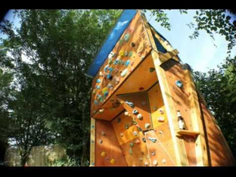 homemade outdoor bouldering wall we want to build one in our backyard looks like so much fun. Black Bedroom Furniture Sets. Home Design Ideas